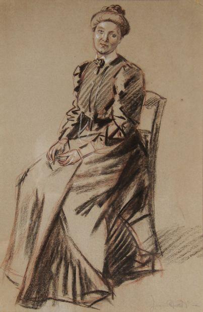 Ecole moderne  Femme assise  Fusain et crayon...