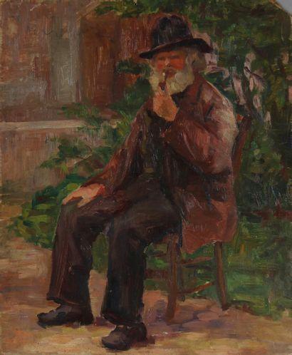 Ecole moderne  Homme assis à la pipe  Huile...
