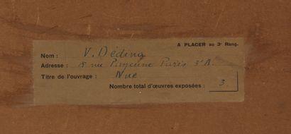 Venceslas DEDINA (1872-)  Nue  Mine de plomb et crayon blanc sur papier blanc signé...