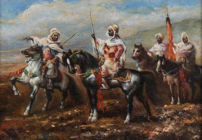 Ecole moderne  Cavaliers arabes  Huile sur...