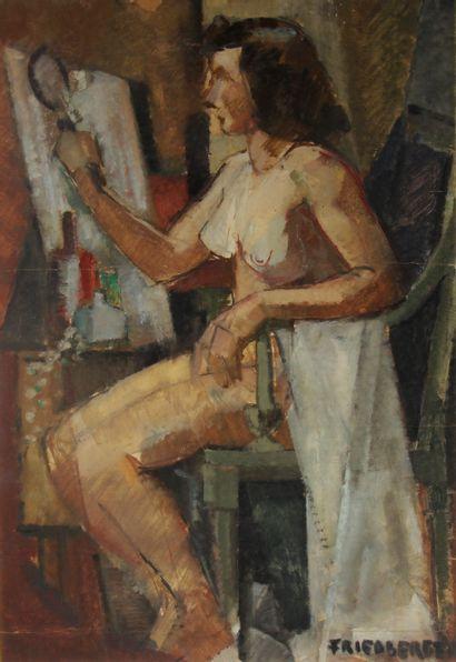 FRIEDBERGER  Femme à sa toilette  Gouache...