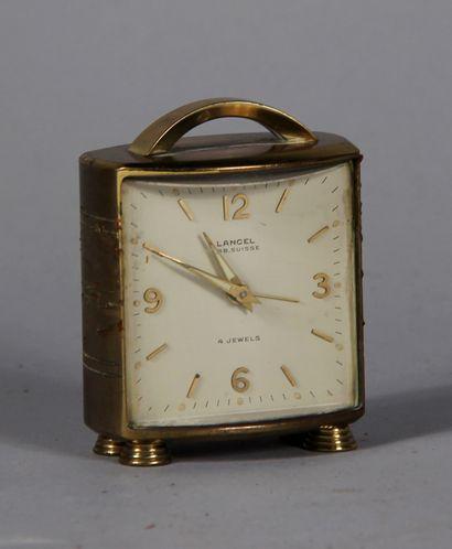 LANCEL  Pendulette de voyage en métal doré...