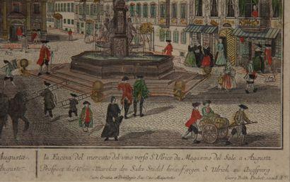Suite de quatre perspectives polychromes  La Tour de Babel - Le marché au vin à...