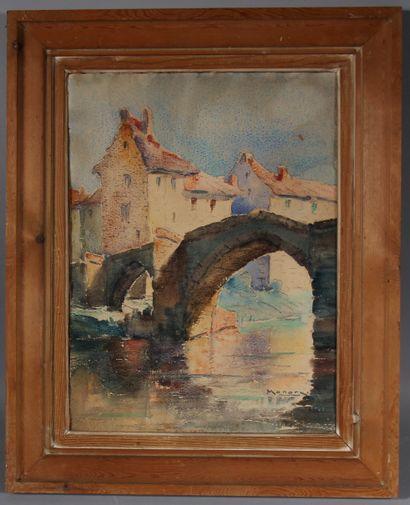 Ecole moderne  Le pont  Aquarelle signée en bas à droite MONORY  45 x 33 cm. (t...