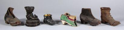 Lot de chaussures d'enfants en cuir et tissu...
