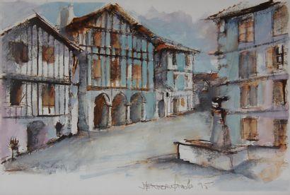 Ecole moderne  Village  Quatre fusains, aquarelles  54,5 x 25 - 50 x 22,5 - 31 x...