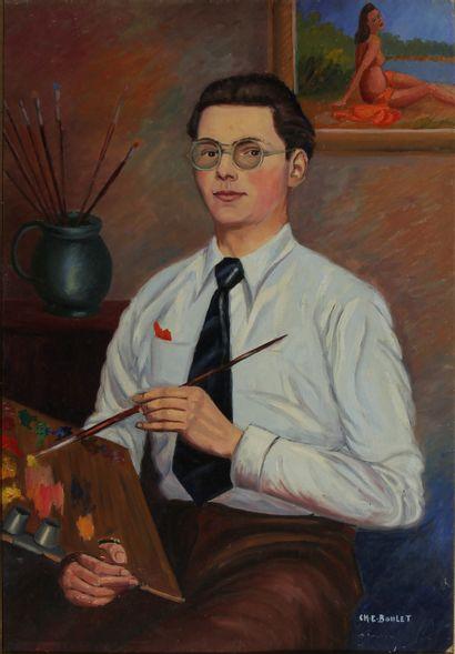 Charles-Edouard BOULET  Autoportrait  Huile...