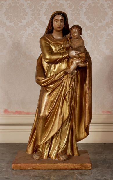 *Sculpture en bois polychrome et doré représentant...