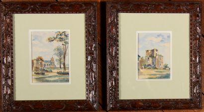 *LAVERDURE  Bâtiments  Deux aquarelles signées...