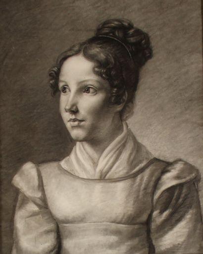 *Ecole française du XIXème s.  Portrait de...