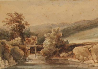 *Pierre Louis DUPLAT (1795-1870)  Le pont...