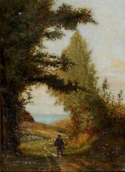 *Ecole du XIXème s.  Promeneur sur un chemin...