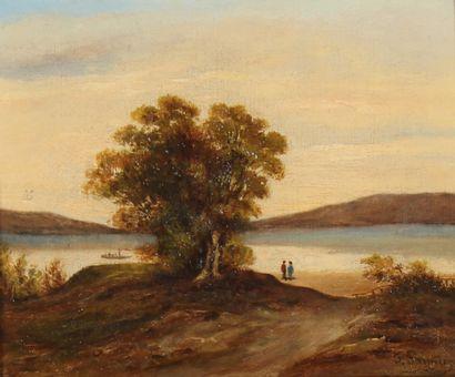 *Ecole du XIXème s.  Bord de lac  Huile sur...