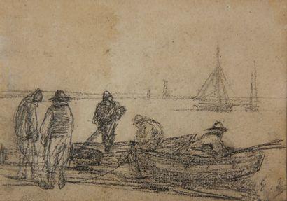 Eugène BOUDIN (1824-1898)  Les pêcheurs devant...