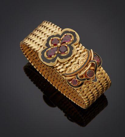 *Bracelet souple en or jaune 750 millièmes,...