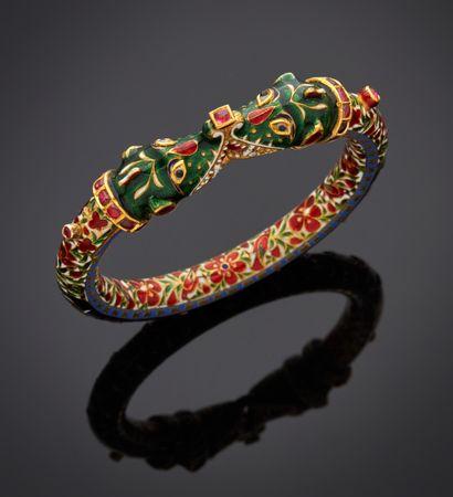 *Bracelet rigide ouvrant en or jaune 750 millièmes, entièrement émaillé en polychromie...