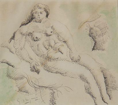 Georges BRAQUE (1882-1963)  Nu féminin assis...