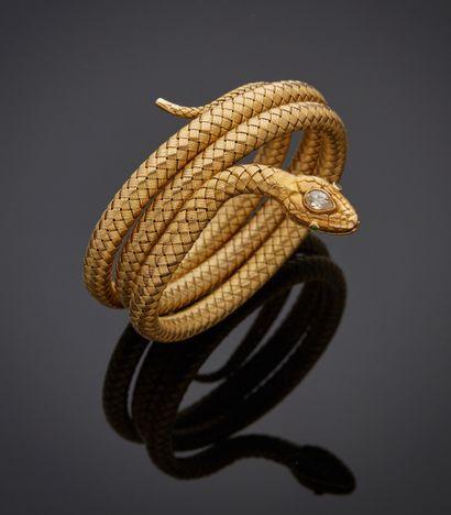 *Bracelet souple en or jaune bas titre (ET)...