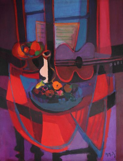 Marcel MOULY (1918-2008)  Fruits et guitare...