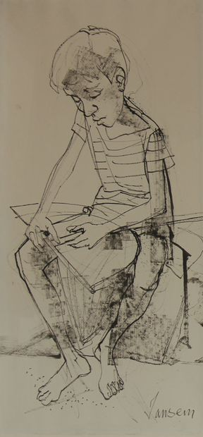 Jean JANSEM (1920-2013)  Le garçon à l'épuisette...