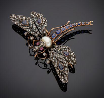 *Broche libellule en or 750 millièmes (poinçons...