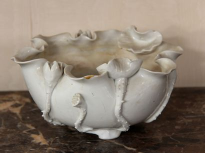 Coupe polylobée en porcelaine blanche à branchages...