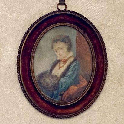 *Ecole du XIXème s.  Femme assise au manchon...