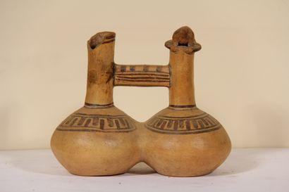 Vase à double panse décoré d'un oiseau  Culture...