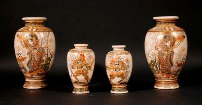 *Deux paires de vases balustres en faïence...