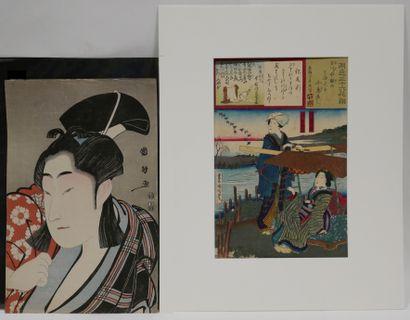 Deux estampes dont :  UTAGAWA KUNIMASA (1773-1810)....