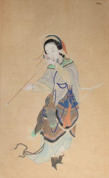 Chine XIXème s.  L'archère  Peinture sur...