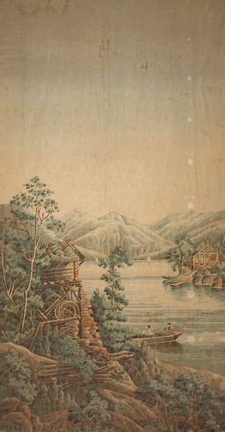 Ecole du XIXème s.  Rivière animée  Peinture...