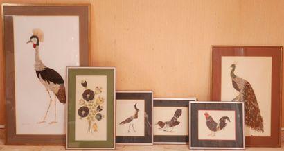 *Six tableaux à décor d'oiseaux, fleurs réalisés...