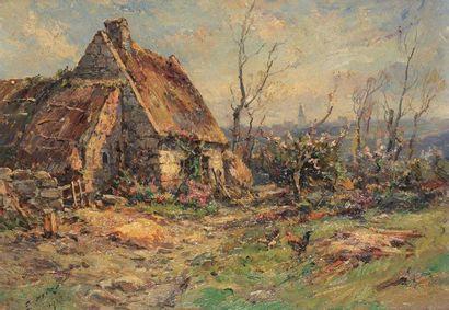 """""""NOIROT Émile (1853-1924)"""" """"La chaumière à Trebeurden en Bretagne, 1914 Huile sur..."""
