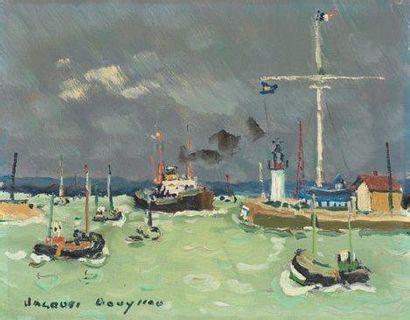 """""""BOUYSSOU Jacques (1926-1997)"""" """"Bateaux dans le port de Honfleur Huile sur toile..."""
