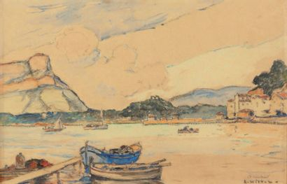 André WILDER (1871-1965) Le port de Saint Mandrier Aquarelle sur trait de crayon,...