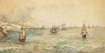 A.de MAUPAS (XXème siècle) Voilier dans le rade d'Alger Aquarelle, signée en bas...