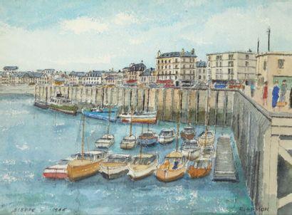 Roland HAMON (1909-1987) Port de Dieppe Aquarelle, signée en bas à droite, située...