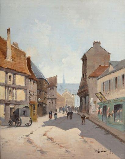 Attribué à Eugène GALIEN LALOUE (1854-1941) Rue en Normandie Huile sur toile, signée...