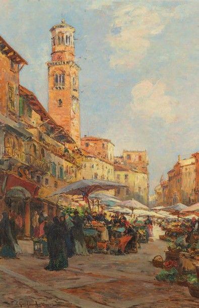 Fernand LEGOUT GERARD (1856- 1924) Marché au pied de l'église San Zeno, Vérone Huile...