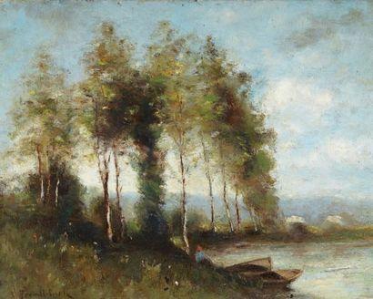 Paul Désiré TROUILLEBERT (1829- 1900) (d'après) Paysage à l'étang Huile sur toile...