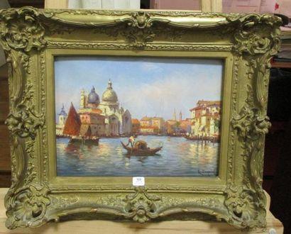 Gaston CORBIER (1869-1945) Gondole à Venise devant Santa Maria della Salute Huile...