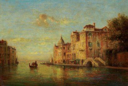 Entourage de Félix ZIEM (1821-1911) Canal à Venise Huile sur toile. 38 x 55 cm