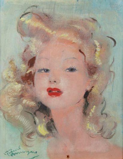 Jean Gabriel DOMERGUE (1889-1962) Portrait d'une jeune fille blonde Huile sur panneau,...