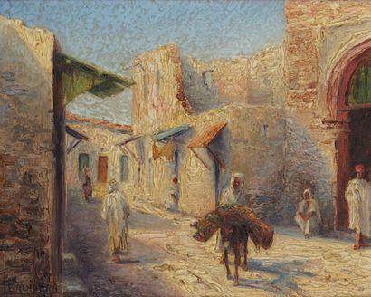 L.CADIERRA (XXème siècle) Dans la ville arabe Huile sur toile, signée en bas à gauche....