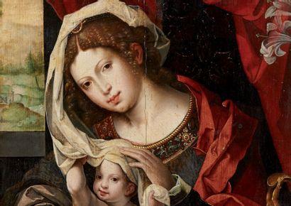 COECK van Aelst Pieter (Atelier de) Alost 1502-Bruxelles 1550 Vierge à l'enfant près...