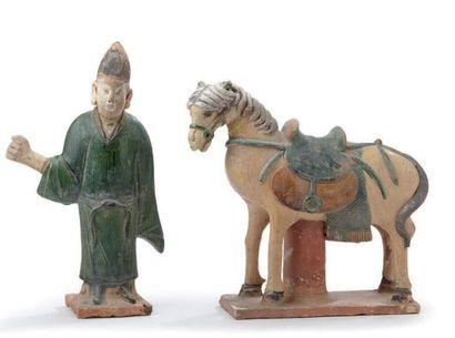 Palefrenier et son cheval en céramique et...