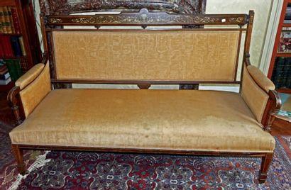 Petit canapé de forme droite en placage de...