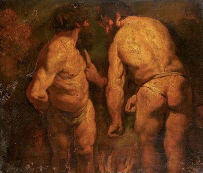 Attribué à Jacob JORDAENS (1577-1640) Deux hommes, l'un de trois-quarts, l'autre...