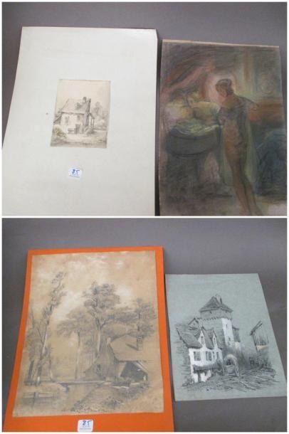Lot de trois dessins: Ecole du XIXème siècle